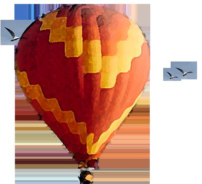 Balão flutuando com passaros